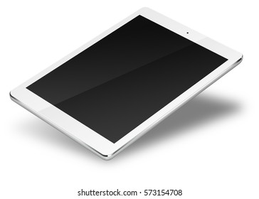 Realistic tablet pc computer with blank screen isolated on white background. 3D illustration