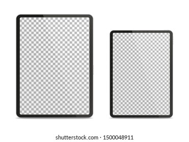 Realistic tablet pc different sizes isolated on white background. 3D illustration.