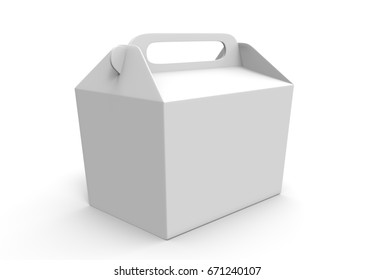 Realistic take away food box mock up set isolated on white background 3d render illustration. Blank white cardboard carry package, product container, empty food box. Take away food box template.