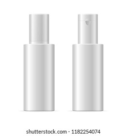Realistic Template Blank White Cosmetic Bottle Isolated For Shampoo, Cream, Lotion or Fluid. illustration of two bottles view
