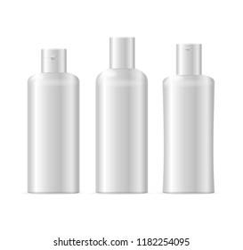 Realistic Template Blank White Shampoo Cosmetic Bottle Isolated Beauty Product Packaging Style. illustration of three bottles view