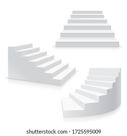 Realistic Template Blank White Staircase or Stairs Set Success Business Concept or Interior Element. 3d illustration