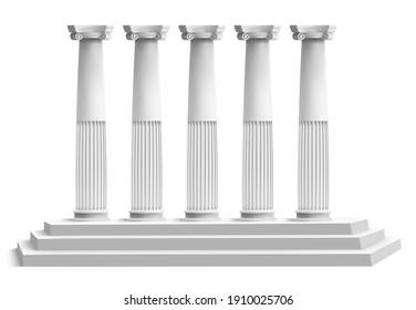 Realistic temple columns. Ancient greek pillars with marble 3d stair podium. Antique columns facade  illustration. Ancient pillar, realistic sculpture column