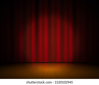 Realistic theater stage. Red curtains and spotlight, Broadway show background, elegant cinema drape.  textile 3D concert vintage scene