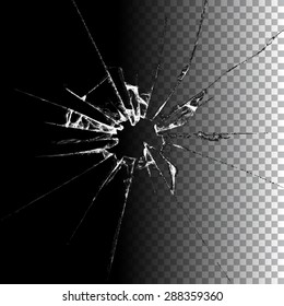 Realistic transparent broken glass background illustration. Raster version