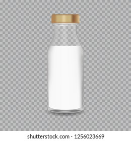 Realistic Transparent Glass Bottle with a Milk.  illustration.