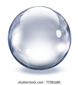 Realistic transparent glass sphere illustration
