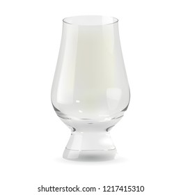 Realistic transparent and isolated whiskey glencairn glass. Alcohol drink glass icon 3D illustration