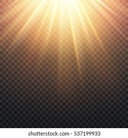 Realistic transparent yellow sun rays, warm orange flare effect isolated on checkered background. Sunshine from star, sunbeam bright illustration.