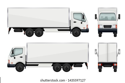 Realistic truck. illustrations transportation of cargo. Truck transport, cargo lorry with trailer