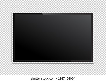 Realistic TV screen on transparent background. Modern stylish lcd panel, led type. Large computer monitor display mockup. Blank television template.