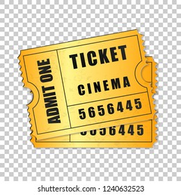 Realistic Two gold cinema tickets isolated object on transparent background. Cinema, theater, concert, movie, performance, party, event festival ticket template. Admit one