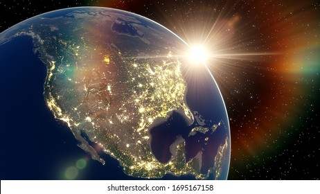 realistic united states of america from space, night usa from space, east coast of the usa from space, sunrise over the usa 3d render