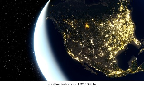 realistic united states of america from space, night usa from space, east coast of the usa from space 3d render