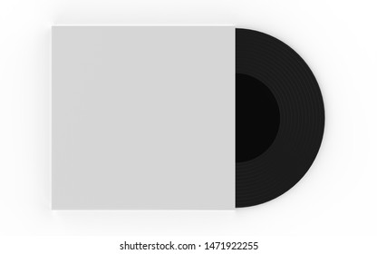 Realistic Vinyl Record with Cover Mock up. Disco party. Retro design. 3d illustration