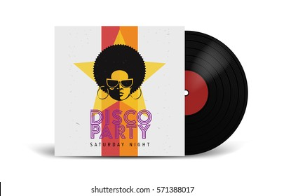 Realistic Vinyl Record with Cover Mockup. Disco party. Retro design. Front view