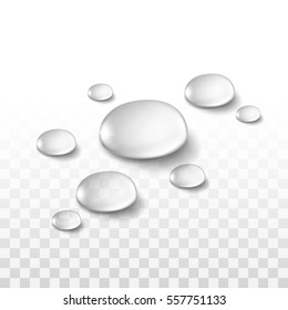 Realistic Water Drops Set Isolated on Transparent Background
