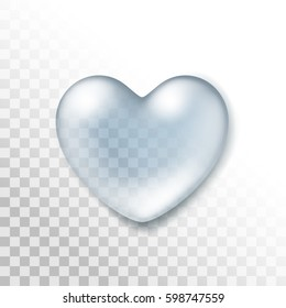 Realistic Water Heart Drop Isolated on Transparent Background