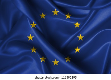 Realistic wavy flag of European Union.