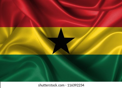 Realistic wavy flag of Ghana.