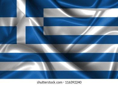 Realistic wavy flag of Greece.