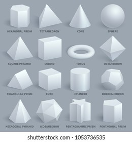 Realistic white basic 3d shapes set. Geometry form for education illustration. Hexagonal and prism, tetrahedron and cone, sphere and pyramid