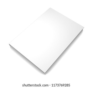 Realistic white blank book isolated on white background. 3d illustration