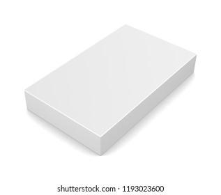 Realistic white blank box isolated on white background. 3d illustration