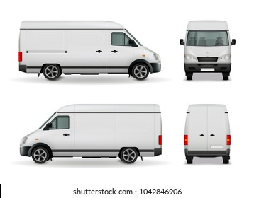 Realistic white cargo van with empty surface advertising mockup side view, front and rear  illustration