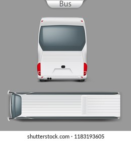 Realistic white coach bus mockup back or rear, top view. High-detailed passenger transport, travel vehicle. Blank city bus template forcorporate identity branding, advertising design.