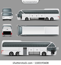Realistic white coach bus mockup, rear, front, top, side view. Passenger transport, travel vehicle, opened doors, trunk. Blank city bus template for corporate identity, branding design