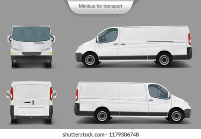realistic white delivery minivan, city minibus front, back, side view, with shadow, isolated on gray background. Template, mock up of a minivan for brand design, corporate transport