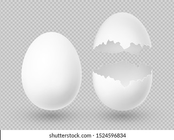 Realistic white eggs with whole and broken shell isolated