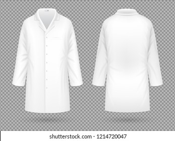 Realistic white medical lab coat, hospital professional suit template isolated