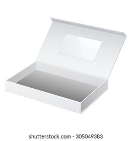 Realistic White Package Cardboard Box Opened. For gifts, jewelry, electronic device and other things.