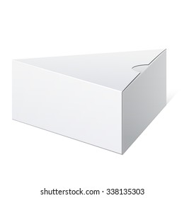 Realistic White Package triangular shape Box. For Software, electronic device and other products.