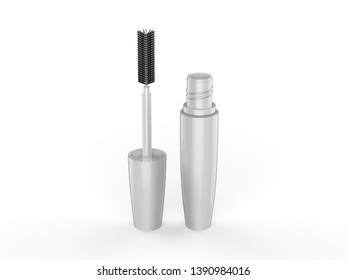 d70b08d5685 Realistic White plastic tube with mascara and brush. Container of cosmetic  product for eye beauty