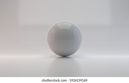 Realistic white sphere with shinny background. 3D rendering.
