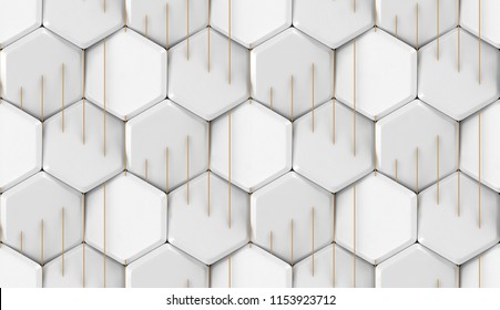 Realistic white tiles chamfered hexagons with gold thin stripes. High quality seamless texture.