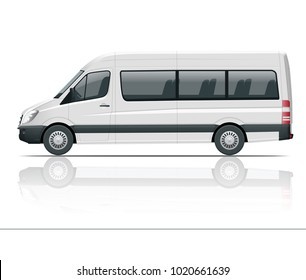 Realistic White Van template Isolated passenger mini bus for corporate identity and advertising. View from side,  illustration