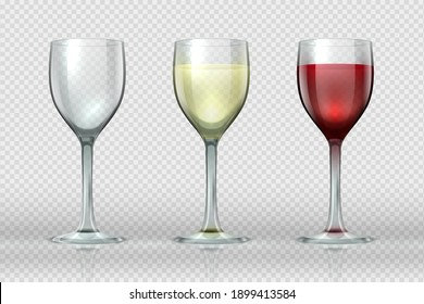Realistic wine glasses. Wineglass with red and white wine for gourmets. 3D empty isolated glass cup on transparent background for festive events and cards