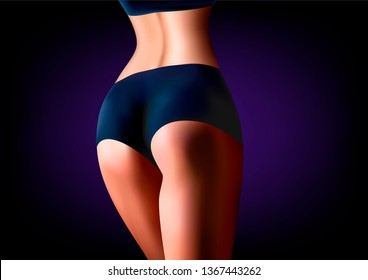realistic woman athlete stands back close-up, on a dark blue background horizontal illustration