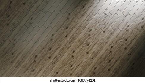 Realistic Wood Floor Background In Sunny Empty Room Top View. 3D Rendeing