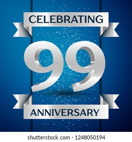 Realistic Years Anniversary Celebration design banner. Silver number, confetti and ribbon on blue background. Colorful  template elements for your birthday party