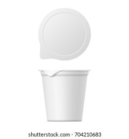 Realistic yogurt, ice cream or sour creme package on white background. 3D mock up of container with lid isolated. Template for your design. Top and front view. 3D illustration