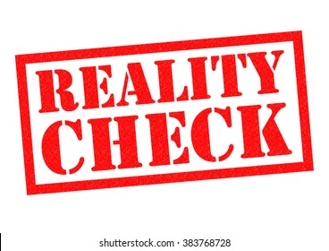 REALITY CHECK red Rubber Stamp over a white background.