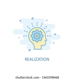 realization line concept. Simple line icon, colored illustration. realization symbol flat design. Can be used for UI/UX
