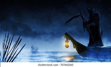 Reaper Boat lead the way to afterlife  speedpainting