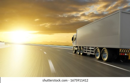 Rear angle view of delivery truck run on the road with sunrise cityscape,fast delivery,cargo logistic and freight shipping concept. 3d rendering.
