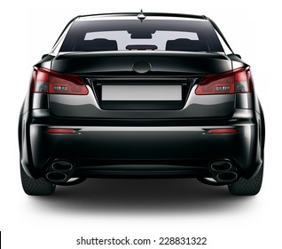 Rear view of black sedan car isolated on white